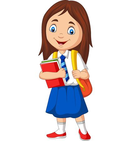 Vector illustration of Cartoon school girl in uniform with book and backpack