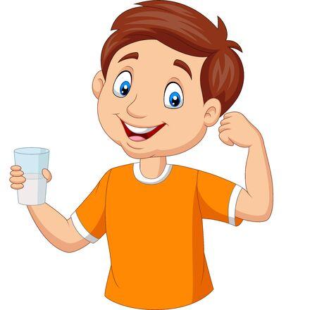 Illustration vectorielle de dessin animé petit garçon tenant un verre de lait Vecteurs