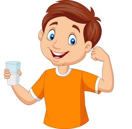 Vektorillustration des kleinen Jungen der Karikatur, der ein Glas Milch hält Vektorgrafik