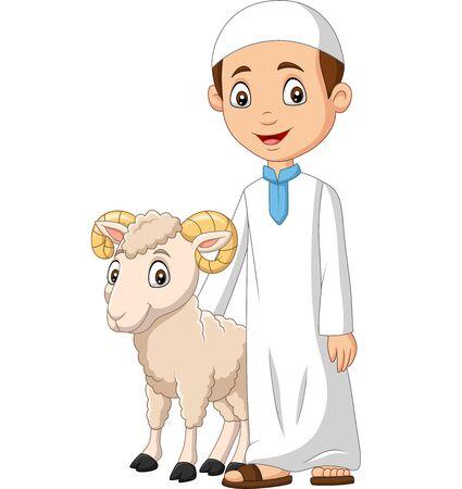Vector illustration of Cartoon Muslim boy with a goat Иллюстрация
