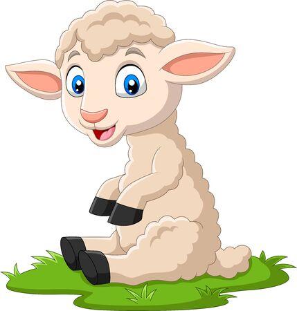 Vector illustration of Cute lamb cartoon sitting on the grass