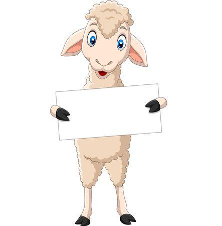 Vector illustration of Happy lamb cartoon holding blank sign