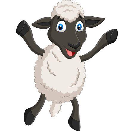 Vector illustration of Cartoon happy sheep posing isolated on white background Иллюстрация