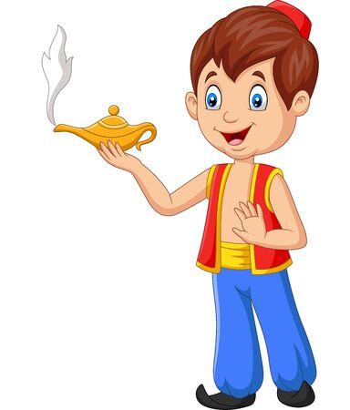 Vector illustration of Cartoon little Aladdin holding his magic lamp