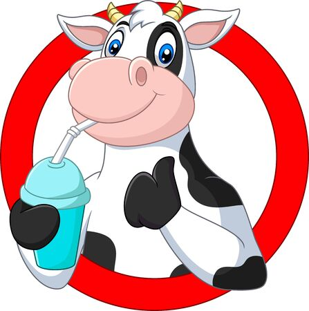 Vector illustration of Cartoon happy cow drinking water Фото со стока - 127342837