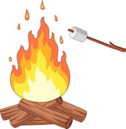 Illustration vectorielle de feu de camp et rôti de guimauve sur un bâton