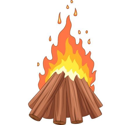 Vector illustration of Campfire with woodpile on white background