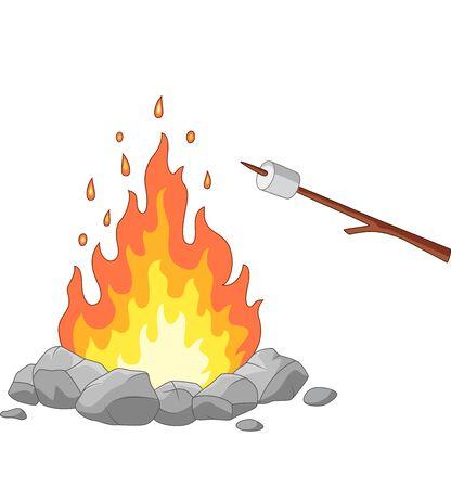 Ilustracja wektorowa ogniska i pieczeni prawoślazu na patyku Ilustracje wektorowe