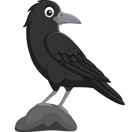 Vector illustration of Cartoon crow standing in stone on white background Фото со стока - 127424995