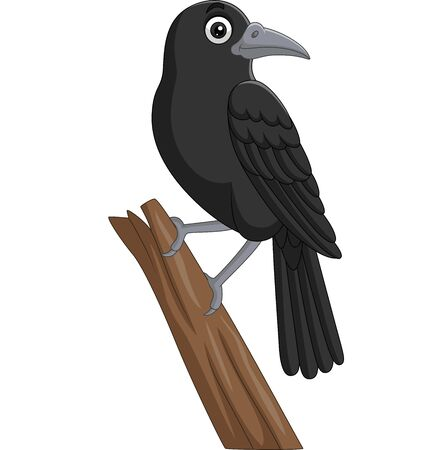 Vector illustration of Cartoon crow standing on a tree branch