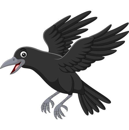 Ilustración de vector de cuervo de dibujos animados volando aislado sobre fondo blanco