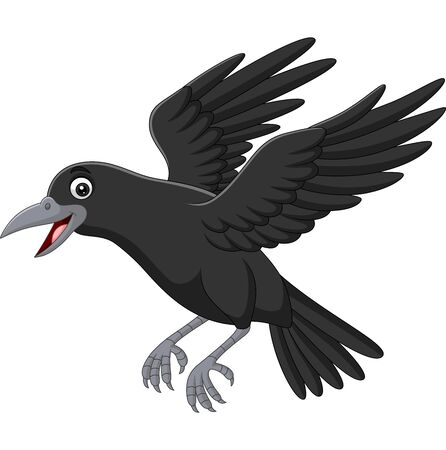 Vector illustration of Cartoon crow flying isolated on white background