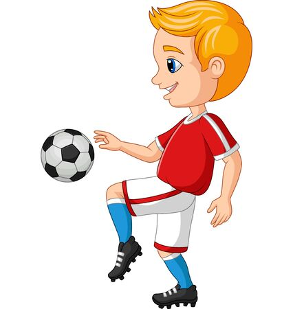Vector illustration of Cartoon little boy playing soccer on a white background Фото со стока - 127431612