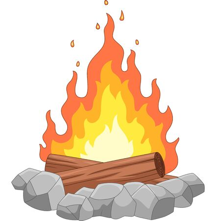 Vector illustration of Campfire with stones and wooden