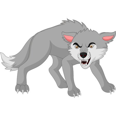Vector illustration of Cartoon angry wolf isolated on white background Фото со стока - 127431615