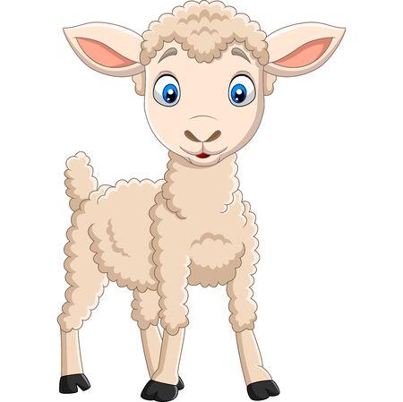 Vector illustration of Cartoon happy lamb isolated on white background