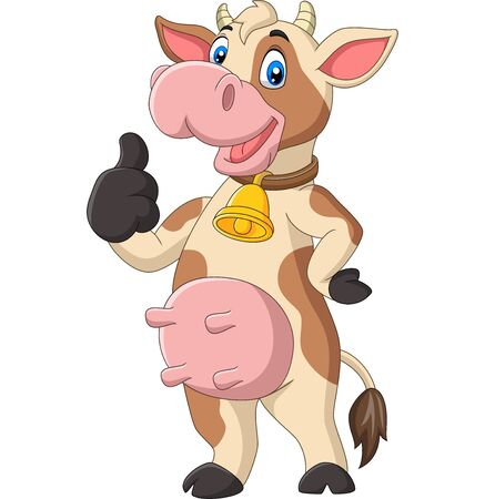 Vector illustration of Cartoon funny cow giving thumb up isolated on white background Фото со стока - 127431317