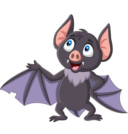 Vector illustration of Cute bat cartoon waving isolated on white background Фото со стока - 127431324