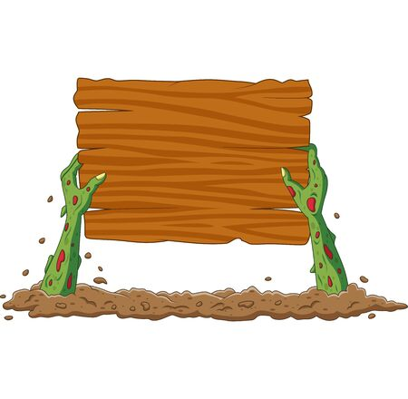 Vector illustration of Cartoon zombie hands out of the ground holding blank sign Фото со стока - 127431338