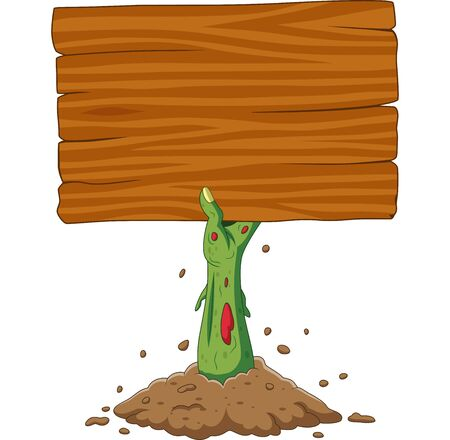Vector illustration of Cartoon zombie hand out of the ground holding blank sign