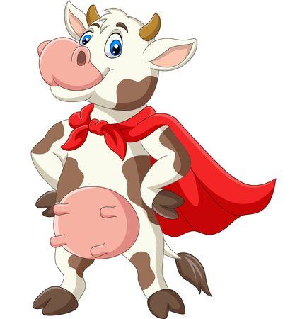 Vector illustration of Cartoon superhero cow in red cape posing
