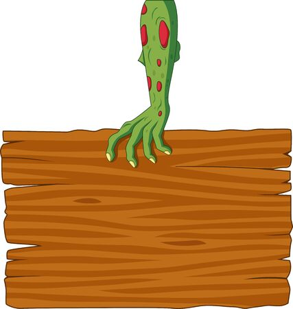 Vector illustration of Cartoon zombie hand holding blank sign