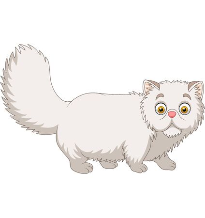 Vector illustration of Cartoon Persian cat on white background Ilustração