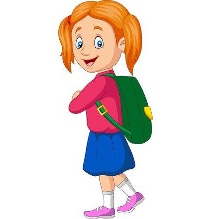 Vector illustration of Cartoon happy school girl carrying backpack Иллюстрация