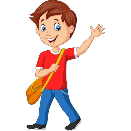 Vector illustration of Cartoon school boy with backpack and waving