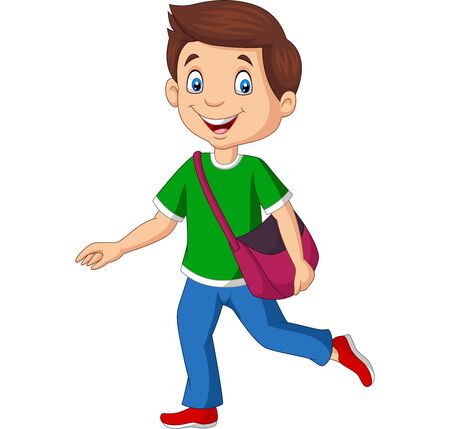 Vector illustration of Cartoon happy school boy carrying backpack