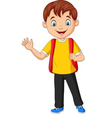 Ilustración de vector de niño de escuela de dibujos animados con mochila agitando la mano