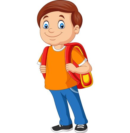 Vector illustration of Cartoon school boy with a backpack Фото со стока - 127906476