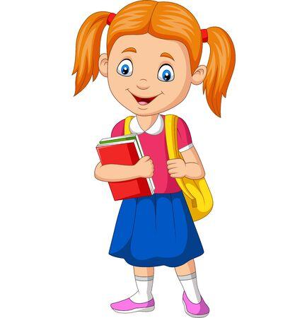 Illustration vectorielle de dessin animé heureux écolière portant un livre et un sac à dos Vecteurs