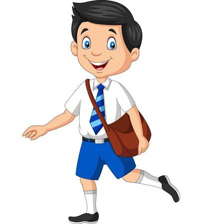 Illustrazione vettoriale del ragazzo di scuola felice del fumetto in uniforme che trasporta zaino