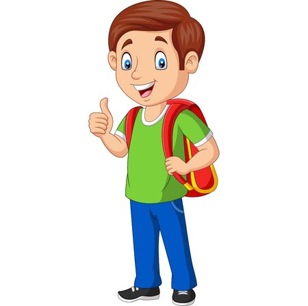 Vector illustration of Cartoon happy school boy with backpack giving a thumb up