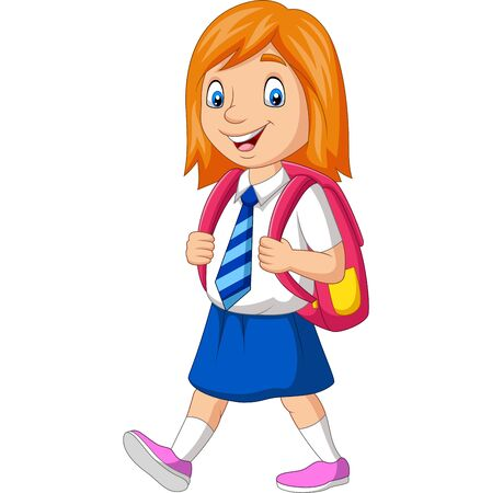 Vector illustration of Cartoon happy school girl in uniform carrying backpack Фото со стока - 127906480