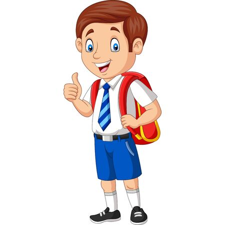 Illustration vectorielle de dessin animé heureux écolier en uniforme donnant un pouce vers le haut Vecteurs