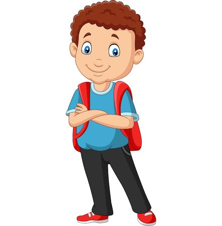 Vector illustration of Cartoon school boy with a backpack Фото со стока - 127906493