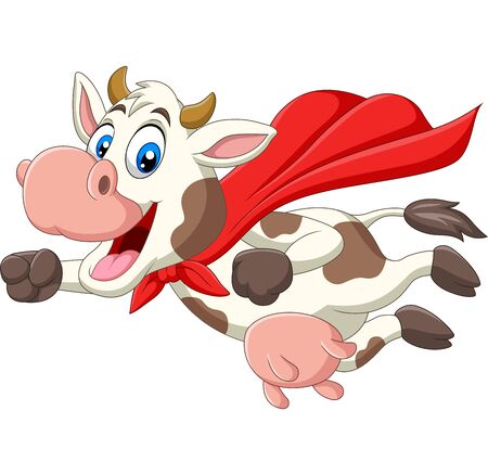 Vector illustration of Cartoon cute superhero cow flying