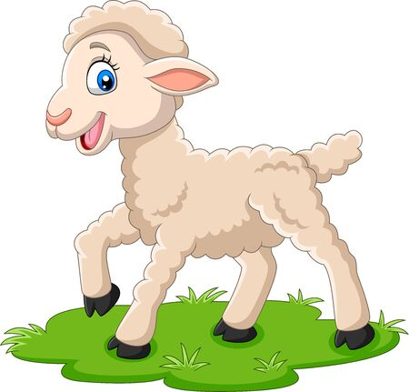 Vector illustration of Cartoon happy lamb on the grass
