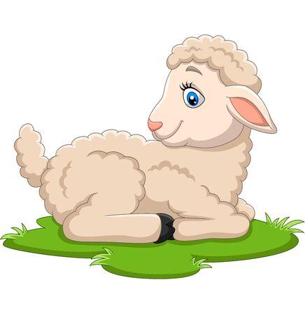 Ilustración de vector de cordero feliz de dibujos animados sentado en la hierba