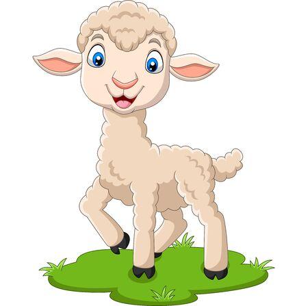 Vector illustration of Cartoon happy lamb on the grass Фото со стока - 127906879