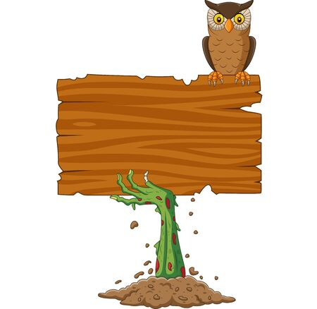 Vector illustration of Cartoon zombie hand holding blank sign with owl bird
