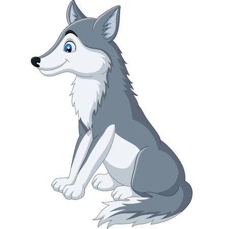 Vector illustration of Cartoon wolf sitting on white background Фото со стока - 127906905