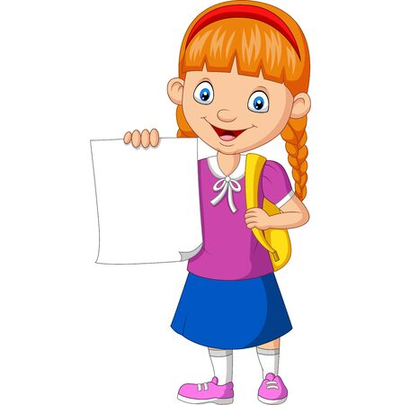 Vector illustration of Cartoon school girl holding blank paper Фото со стока - 127906904