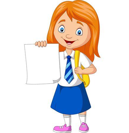 Illustration vectorielle de dessin animé écolière en uniforme tenant du papier blanc