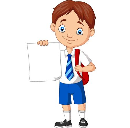 Vector illustration of Cartoon school boy in uniform holding blank paper