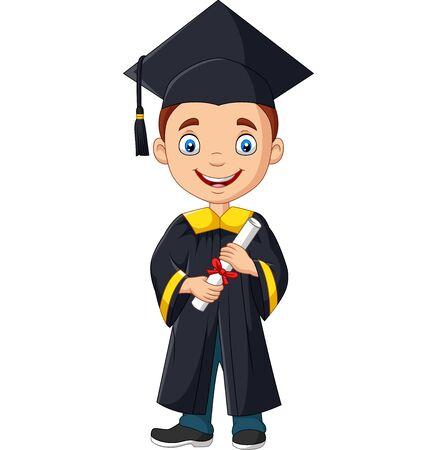 Vector illustration of Cartoon boy in graduation costume holding a diploma