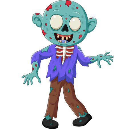 Vector illustration of Cartoon zombie isolated on white background