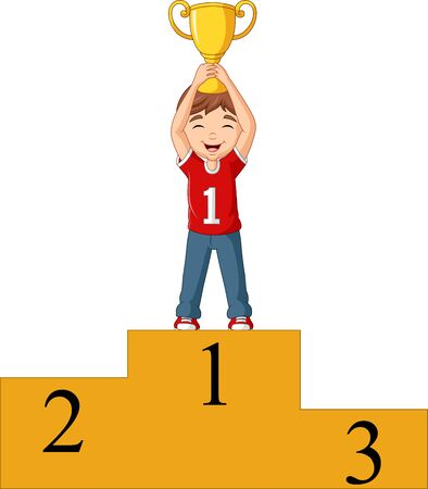Vector illustration of Cartoon boy standing on the winning podium holding a trophy